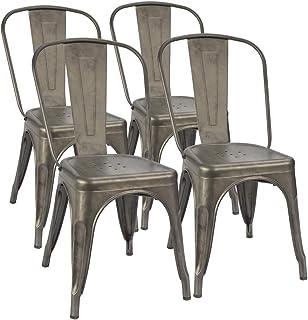 Furmax Metal Dining Chair Indoor-Outdoor Use Stackable...