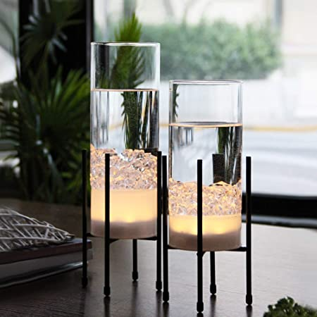 Amazon Com Glass Vase For Decor Vase Set For Flowers Plants Decorative Vase With Timer Led Lights Battery Operated Clear Vase Home Decor For Tabletop Centerpiece Wedding Party Gift Set Of 2
