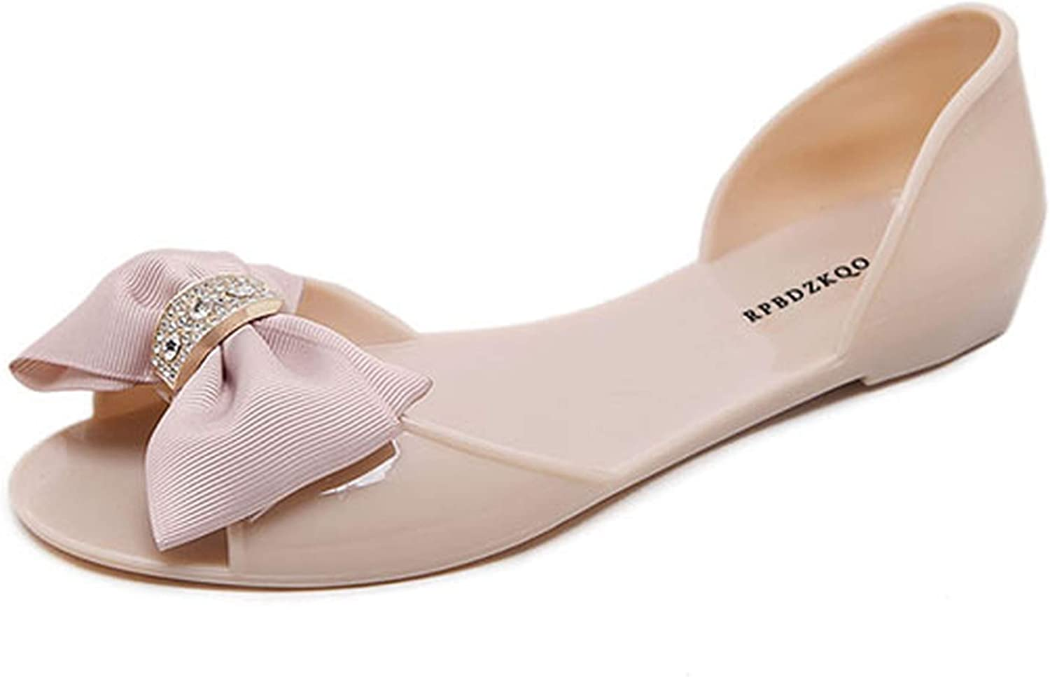 Heat-Tracing shoes Crystal Cute Transparent Bow Slip On PVC Diamond Nice Sandals,Pink,40