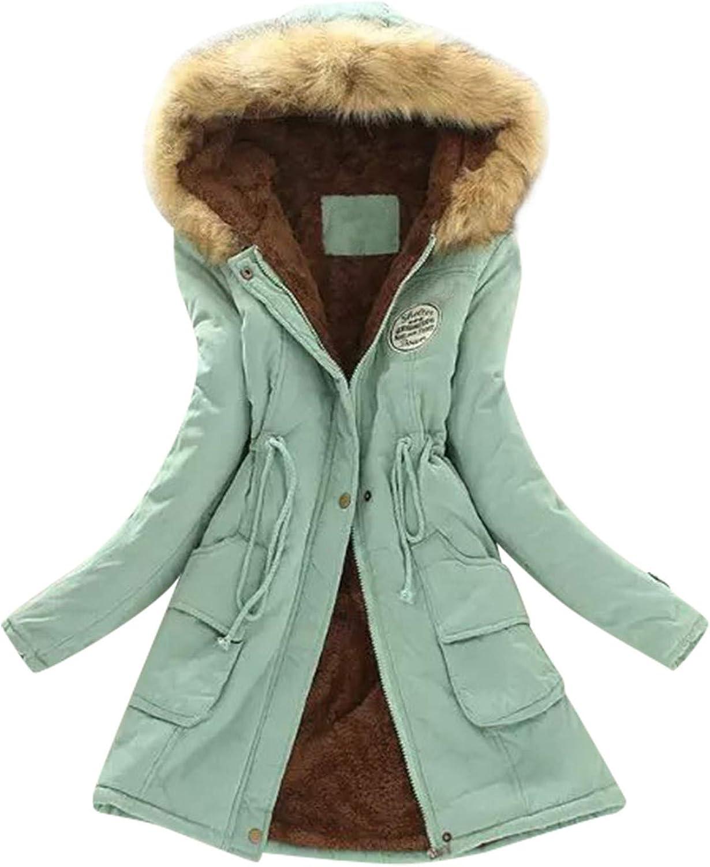 Womens Winter Coats, Womens Mid-Length Warm Coat Hooded Long-Sleeved Jacket Slim Lamb Wool Cotton Outwear Coats