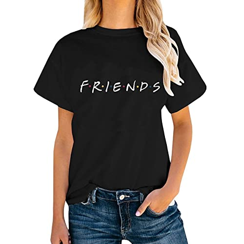 d8e048e2 AEURPLT Womens Friends TV Show T Shirts Summer Short Sleeve Graphic Tees  Tops