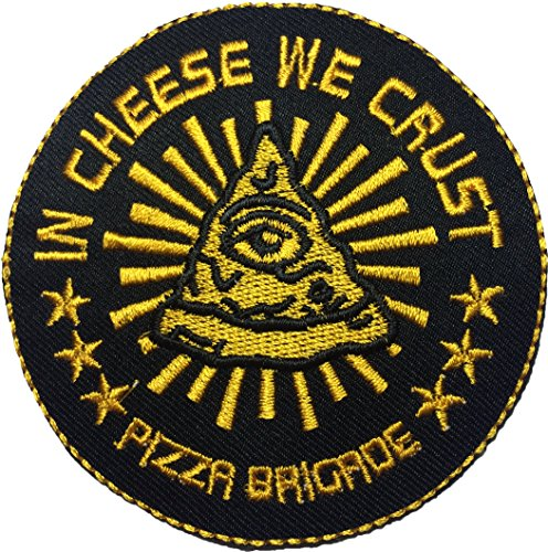 Papapatch IN CHEESE WE CRUST PIZZA BRIGADE Pizza Sew Iron on Embroidered Applique Badge Sign Patch (IRON-IN-CHEESE)