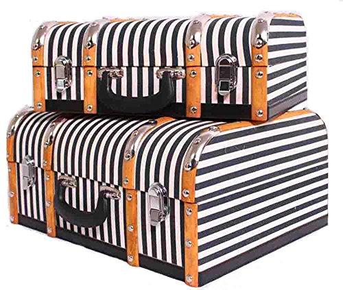Koffer Set 2 teilig/Dekokoffer/Kosmetikkoffer/Kinderkoffer/Vintage Koffer Oldtimerkoffer Holzkoffer Holzleisten Halbrund/Set Antique Style Jute travel Cases