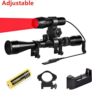 Ulako Red Light 300 Yards Spotlight Flood Light Zoomable Tactical Hunting Flashlight Torch for Hog Pig Coyote Varmint Predator Rifle