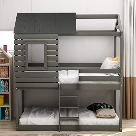 Amazon Com Low Bunk Beds Twin Over Twin Size Wood Bunk Beds With Roof And Guard Rail For Kids No Box Spring Needed Grey Bunk Beds Twin Over Twin Kitchen Dining