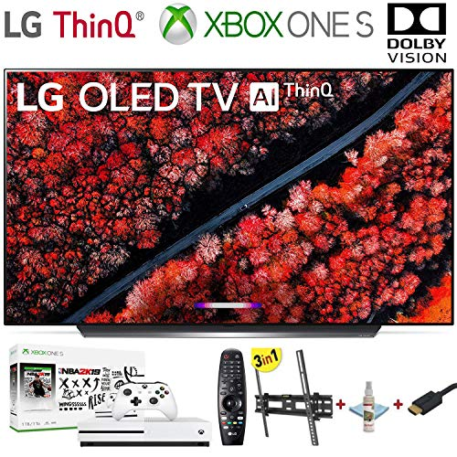 LG Electronics OLED65C9PUA C9 Series 65' 4K Ultra HD Smart OLED TV (2019) w/Xbox One S NBA 2K19 w/3 in 1 Wall Mount kit- Wall Mount, HDMI Cable, TV Cleaning Kit - LG Authorized Dealer.