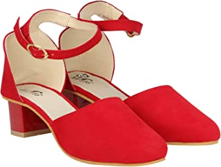 Misto Vagon Women and Girls Casual Block Heel Sandal in RED