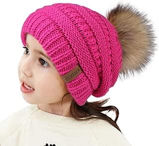 Kids Girls Boys Winter Knit Beanie Hats Faux Fur Pom Pom Hat Bobble Ski Cap Toddler Baby Hats 1-6 Years Old