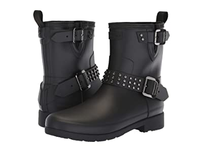 Hunter Refined Stud Biker Rain Boots (Black) Women