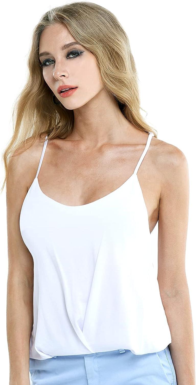 noflik Women Sleeveless Strap Blouse, Silky Dressy Cami Shirt Tank Top