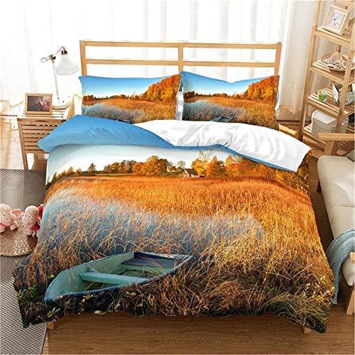 MENGBB 3D Cot Duvet Cover and Pillowcase Set Lake fruit boat landscape 260x220cm Total 4 Size, give away pillowcase, 3D Bedding Set - Quilt Cover with Zipper Closure + Pillowcases, Microfiber Duvet Co
