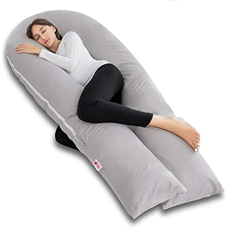 JIAN YA NA Full Body Pregnancy Pillow Maternity Pillow Nursing Pillow with One Free Washable Pillowcover White, C-Shape