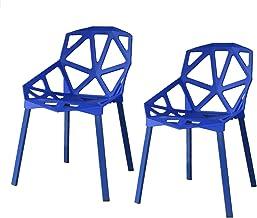 【2脚セット】ジェネリックチェア チェアー カフェ 椅子 イス ダイニングチェア ガーデンチェア 屋外用 INK-S127 タートルシリーズ (ブルー)