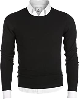MOCOTONO Men's Long Sleeve Crew Neck Pullover Knit Sweater
