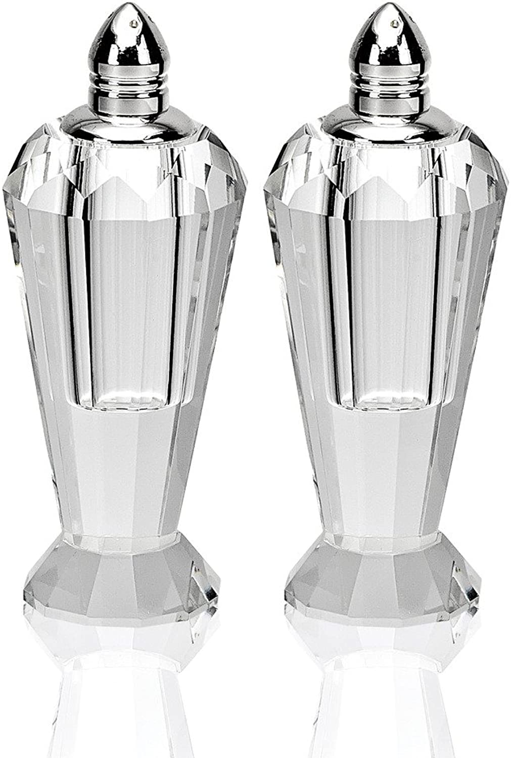 Badash Pair of Optical Crystal Salt and Pepper Shakers, Height 4-Inch
