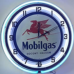Mobil Mobilgas Large 18 Double Neon Clock w/Metal Sign Flying Red Horse Pegasus
