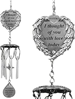 BANBERRY DESIGNS Memorial Windchime for Grandma - I Thought of You with Love Today Poem - Heart Shaped Angel Wings with Silver Grandma Charm - Sympathy Gifts Loss of a Grandmother