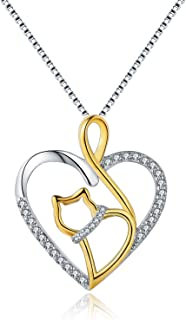 MORANY 925 Sterling Silver Heart Cat Pendants Necklace...