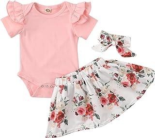 Baby Infant Girl Clothes Short Sleeve Bodysuit Romper + Floral Short Skirt 2PCS Summer Outfit Sets for New Born Gril