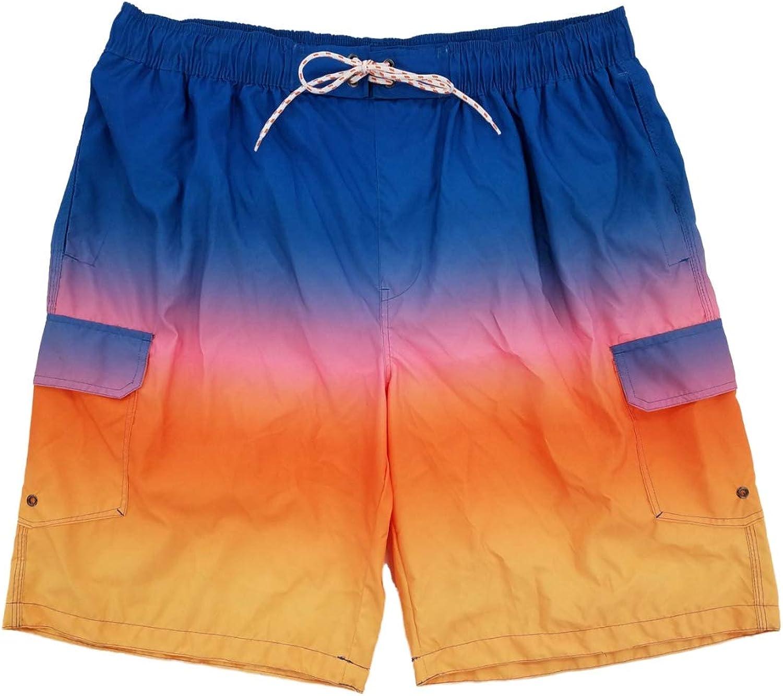 Mens Blue Yellow Gradient Rainbow Swim Trunks Swim Shorts Board Shorts