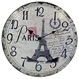 HIPPIH Silent Round Wall Clocks 12 Inches, Living Room Decorative Vintage/Country/French Style Wooden Clock(Round Eiffel)