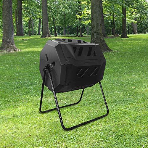 SKYLANTERN Composteur de Jardin 160L Noir sur Pieds - Bac à Compost Double Chambre Rotatif - Composteur de Jardin en Polypropylène Résistant