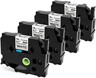 Oozmas Compatible Label Tape Replacement for TZe-S241 TZ 18mm 0.7 Inch Black on White Extra Strength P-Touch Label Tape 3/4 Inch Work with Brother PT-D400, PT-D400AD, PT-D450 Label Maker, 4-Pack