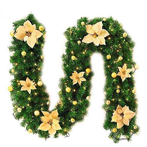 Guirnalda de Navidad con luz,2.7M Chimeneas Escaleras Guirna