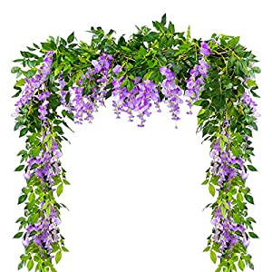 4Pcs 6.6Feet/piece Artificial Flowers Silk Wisteria Garland Artificial Wisteria Vine Rattan Silk Hanging Flower For Home Garden Outdoor Ceremony Wedding Arch Floral Decor (Purple, 4Pcs 6.6Ft/piece)