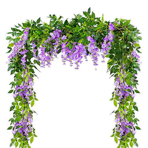 4Pcs 6.6Feet/piece Artificial Flowers Silk Wisteria Garland Artificial Wisteria Vine Rattan Silk Hanging Flower For Home Garden Outdoor Ceremony Wedding Arch Floral Decor (Purple, 4Pcs 6.6Ft/piece)
