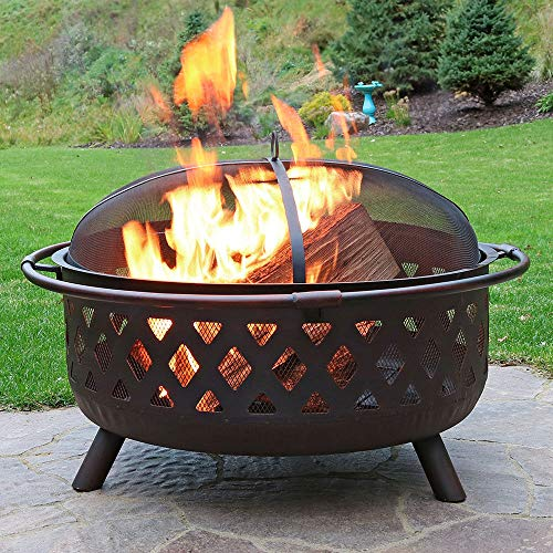 Copper Rim Fire Pit Outdoor Steel Garden Heater with BBQ Grill Rack Spark Guard & Poker for Wood & Charcoal(Black)