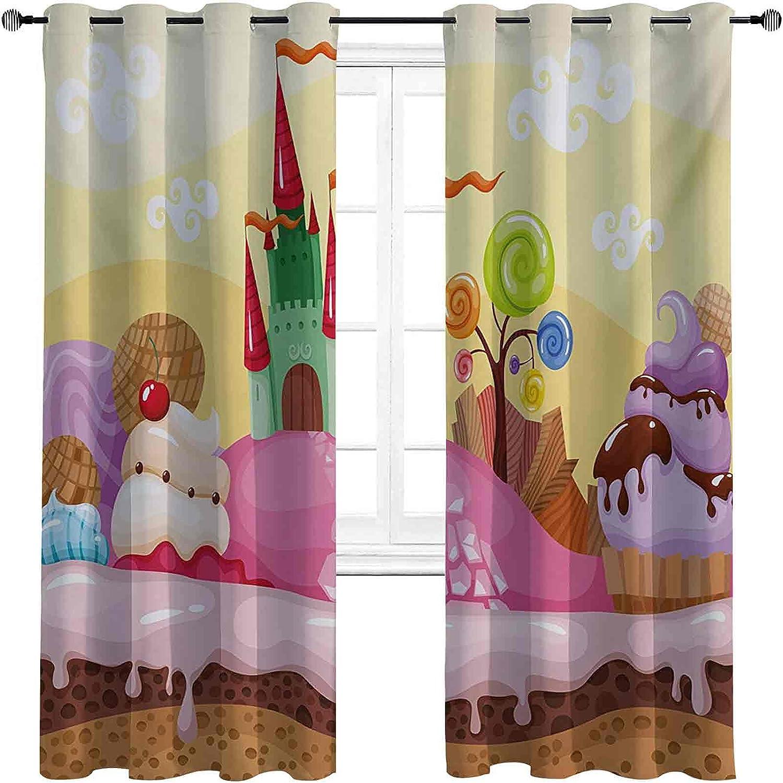 with Grommets blackoutCartoon Curtain Castle Sweet Landsca Great interest Kids Seasonal Wrap Introduction