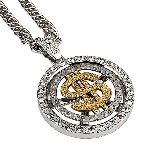 18 K Placcato Oro americani hip-hop Rapper uomini/donne dollaro denaro Ciondolo Collana 80 CM catena cubana Jewelry