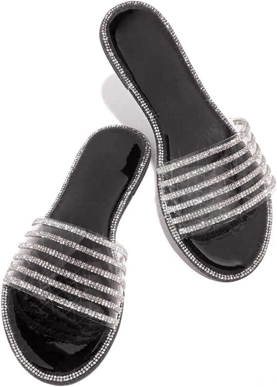 siilsaa Sandals for Women Rhinestone Comfy Flat Casual Summer Beach Sandals Romen Shoes Open Toe Flip Flop Slippers