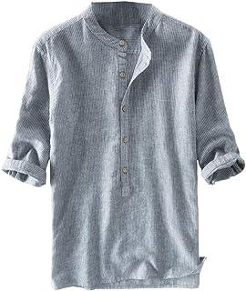 Hombre Rayas Camisa Henley Camisa con Botón Cuello Mao Regular Fit Shirt Verano Elegante Básica Camisa Tops Tallas Grandes...