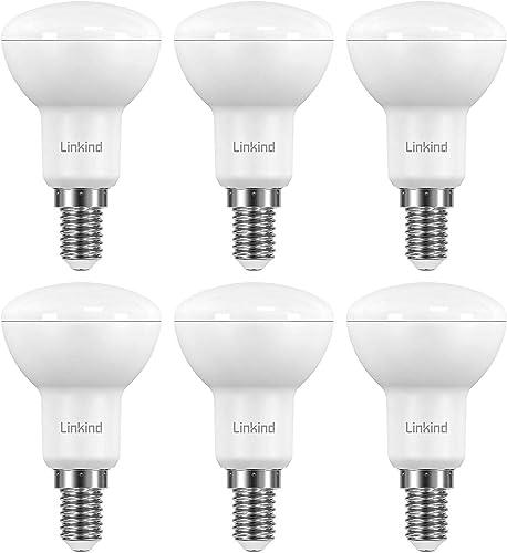 Linkind Lampada con riflettore LED E14 da 4,8 W, lampada a incandescenza sostituita da 40 W, angolo del fascio lumino...