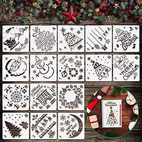 PERFETSELL 16 Stück Schablonen Weihnachten Kunststoff Weihnachtsschablone Weihnachts Tannenbaum Schablonen Schneemann Weihnachtsbaum Kinder Zeichenschablonen Fensterschablone Vorlage für Fenster Deko