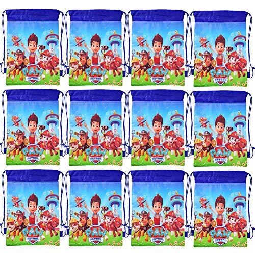 WENTS Mitgebsel Kindergeburtstag Paw Patrol Turnbeutel Gastgeschenke Beutel 12 Stück Geschenktüte für Jungen Mädchen, Mitbringsel Geschenktaschen Geburtstagsfeier Partytüten