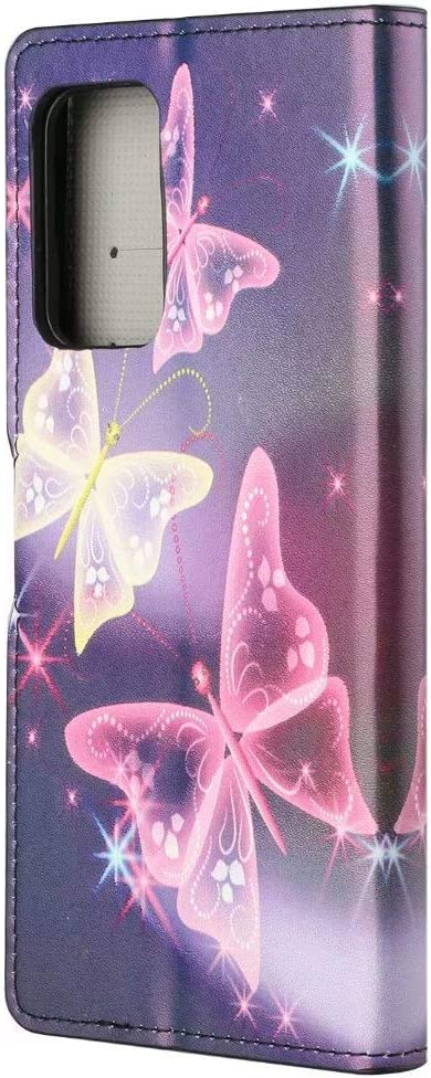 Lvnarery Samsung Galaxy A12 5G Phone Case,Flip Case PU Leather wallet Booklet Case Magnetic Protective Flip Cover with shockproof TPU,Stand function,Card Slots Protection Cover Purple butterfly