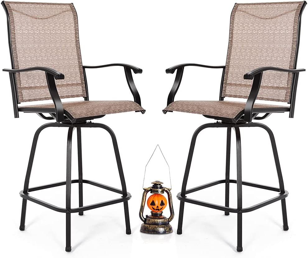 MEOOEM Patio Swivel Bar Stools Chairs In a popularity Height High Outdoor Inexpensive