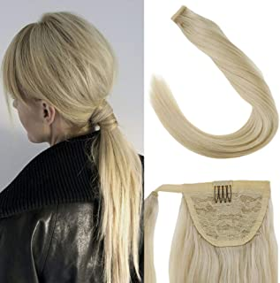 LaaVoo Platinum Blonde Ponytail Human Hairpiece Low Ponytail/High Ponytail Style with Clip in Comb and One Piece Wrap Around Silky Straight Extensions (80g/pack 16inch #60)