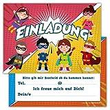 12 Lustige Einladungskarten Set Kindergeburtstag Motiv Superhelden Heroes Party Einladung Geburtstag...