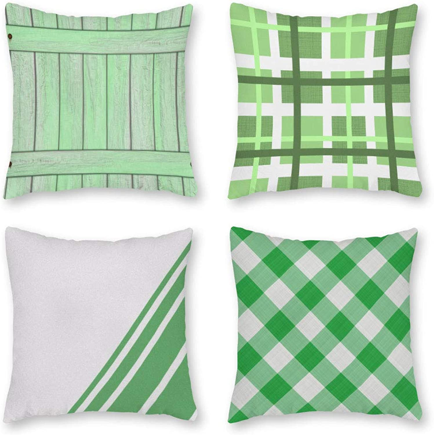 FabricMCC Pack of 4, Geometric Modern Home Decor Soft Canvas Plaid Stripes Square Throw Pillow Covers, 18 X 18 Inches Cushion Cases Green Wood Sign Pattern