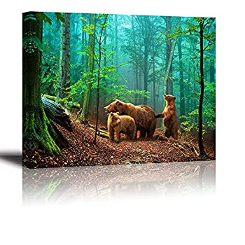 Brown Bear Wall Art for Kids Room PIY Cute Animal Canvas Painting of Mother and Cub in Old-Growth Forest Picture Adorable Family Wildlife Decor  1  Thick Waterproof Bracket Mounted Ready to Hang