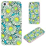 iPhone SE Case,iPhone 5S Case,iPhone 5 Case,VoMotec Anti-Scratch Slim Flexible Soft TPU Protective Skin Cover Case for Apple iPhone 5/5S/ SE 2016 4.0 Inch,Floral Flower Yellow Blue daisys on Blue