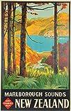 Neuseeland Marlborough Poster Vintage Tourismus Willkommen