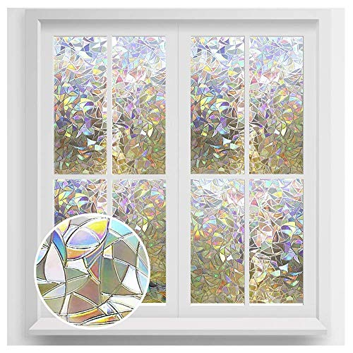 rabbitgoo Window Privacy Film, Rainbow Window Clings, 3D Decorative Window Vinyl, Stained Glass Window Decals, Static Cling Window Sticker Non-Adhesive, 17.5 x 78.7 inches