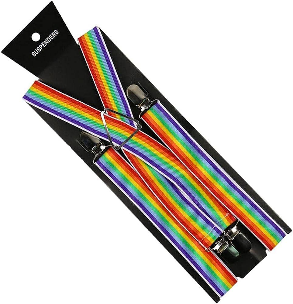 Women Men Suspenders Elastic Suspender Rainbow Stripe Pattern Y-Back 2.5Cm Wide