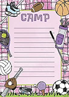 Lil' Pickle Girls Pink Sports Camp Stationery, Fill-in Style, 10 Pack w/Stickers & Pen