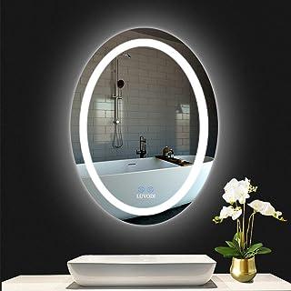 LUVODI Espejo de Baño con Iluminación LED, 60x80 cm, Espejo de Luz de Baño con Interruptor Táctil, Espejo Baño Antivaho, Elegante y Moderno, Oval, para Baño Tocador Dormitorio